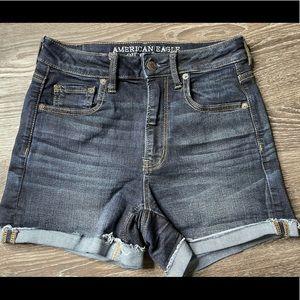 American Eagle Super Hi Rise Shortie Jean shorts
